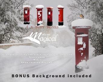 Christmas post boxes, santa mail box, santa letter, post box png, digital overlay, postbox overlay, digital backdrop, digital background
