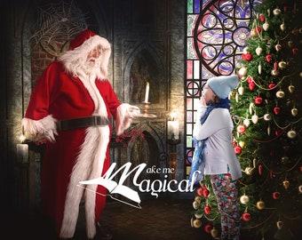 Santa claus in church digital backdrop by makememagical, Christmas digital background with santa