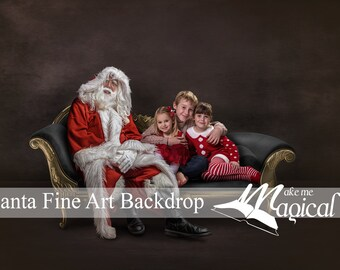 2 X Fine Art Christmas Santa Digital Backdrop on Black and Gold Vintage Chaise Lounge Sofa by Makememagical.  One with Santa and one without