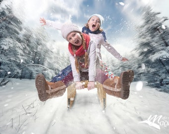 Snow sledge zoom PSD with FREE snow overlay digital backdrop by Makememagical