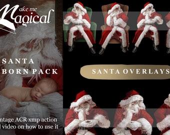 10 Newborn Santa digital Overlays, 2 x FREE Backdrops, FREE Vintage action, FREE video tutorial!!  By Makememagical