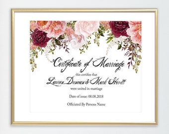 marriage certificate etsy