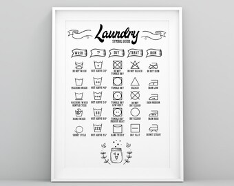 Laundry symbols | Etsy