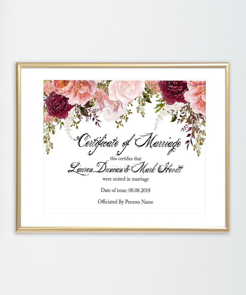 Marriage certificate | Marriage cert | Marriage license | Wedding  certificate | floral wedding cert