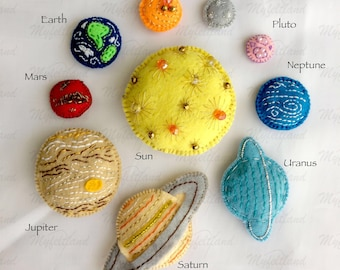 "Set of handmade felt fridge magnets ""The Solar System"" (10 pieces)"