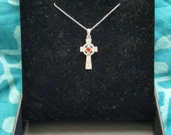 Sterling Silver 925 Celtic Cross necklace with Garnet centre