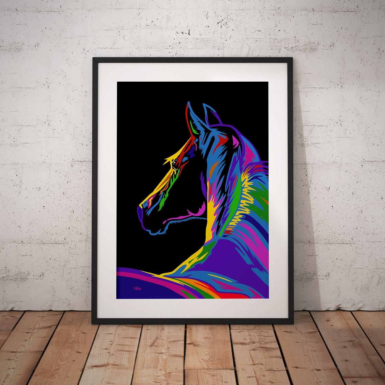 Geschenk für Pferdeliebhaber Pferdemalerei Pferd Pop Art | Etsy