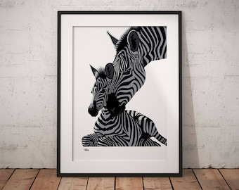Charming Zebra Wall Art | Etsy