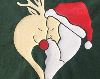Children's Christmas T Shirt Santa and Rudolph Kids Father Christmas Shirt