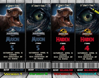 Jurassic World Invitation, Jurassic Park Invitation, Jurassic World Birthday invitation, Jurassic Park Birthday Invitation, ticket, Tickets