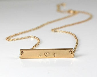 9416b1dcf1 Couples Necklace - Personalized - Dainty Gold Necklace -Engraved Letters-  Rose Gold /Silver /Gold Bar Necklace - Gift for her - Relationship