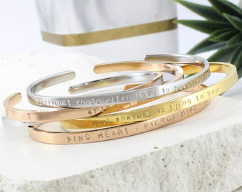 Motivational Cuff Bracelet for Women,Thin, Skinny Stainless Steel, Stacking, No Fade, Custom Engraving, Coordinates, Mantra, Quote Bangle