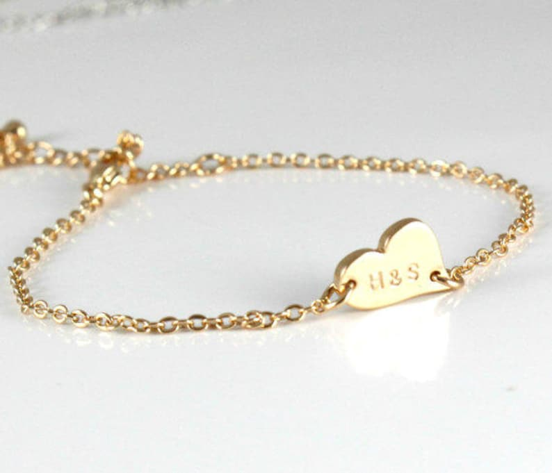 ac867a4cf51 Custom Couples Bracelet Gold Heart Initials Silver/ Rose/ | Etsy