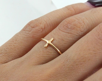 Stacking 14K Gold Plated Ring - Gold Cross Ring - Main material Stainless Steel - Stackable Ring
