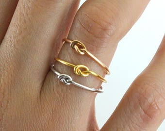 Knot Ring 14K Gold Plated - Main material Sterling Silver - Stackable Ring- Tie the Knot Ring -Bridesmaid Ring - Knotted Love