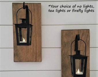 Lantern Sconces, Wood Sconces, Hanging Sconces, Reclaimed Wood Decor, Wrought Iron Decor, Lighted Hanging Sconces, Rustic Lantern Sconces