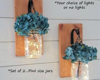 Mason Jar Sconces, Wood Sconces, Hanging Sconces, Reclaimed Wood Decor, Wrought Iron Decor, Hanging Flower Arrangement, Hanging Mason Jars