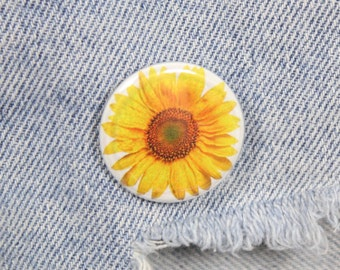 Sunflower 1.25 Inch Pin Back Button Badge