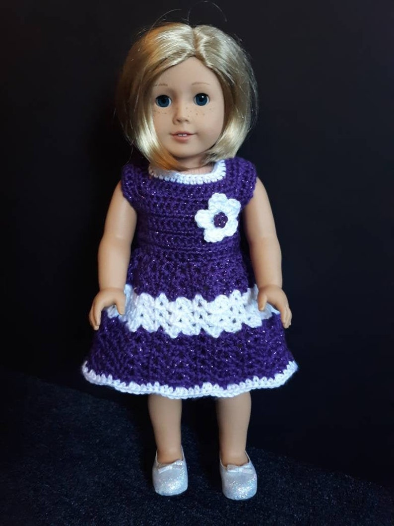 Crochet Doll Dress and Optional Hat/Headband for American image 0