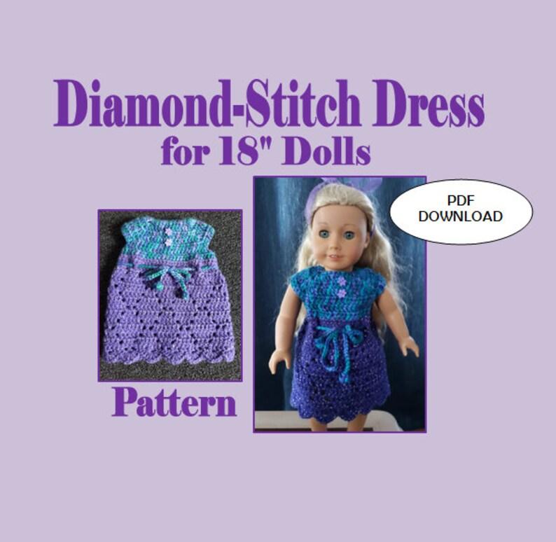 18 inch DOLL CROCHET PATTERN Dress for American Girl Purple image 0