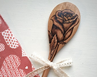 Long Stem Rose Wooden Spoon Wedding Gift for Her Gift for Women Gift for Mom Gift for Him Anniversary Gift Floral Wife Gift Birthday Gift