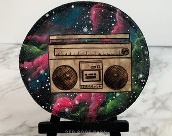 Boom Box Galaxy Watercolor & Wood Burning - Mini Landscape Collection Spring 2020 - Original Painting Space Artwork