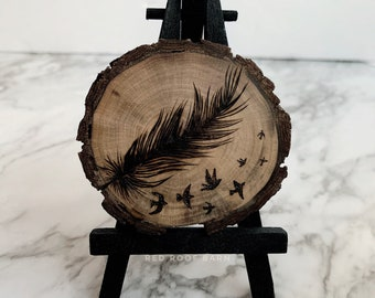 Fly Away - Mini Landscape Collection Spring 2020 - Original Drawing Feather Bird Drawing, Nature Artwork, Pyrography Woodburning Art
