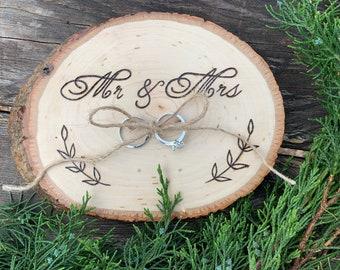 Ring Bearer Pillow Alternative Rustic Wedding Ring Bearer Tray Boho Wedding Decor Ring Holder Natural Wood Slice Ring Bearer Box Alternative
