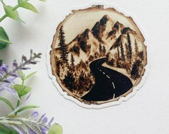 High Quality Vinyl Sticker - Mountain Forest Landscape Art - Laptop Decal Nature Aesthetic Sticker Stocking Stuffer