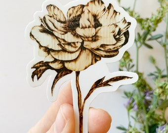 Peony Sticker - High Quality Vinyl Stickers Laptop Decal Flower Aesthetic Sticker Gift for Her