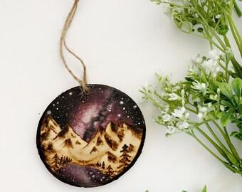 Purple Galaxy Mountain Lake Watercolor & Wood Burning - Mini Landscape Ornament Collection - Original Painting Mountain Nature Artwork