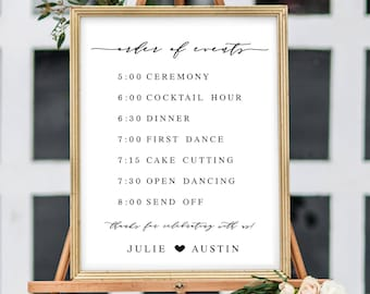 order of events sign wedding pdf sign reception signage for bridal shower order of events schedule of events reception signs for weddings