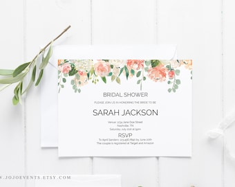 greenery bridal shower template diy shower template bridal shower printable floral bridal shower diy bridal shower pdf editable bridal