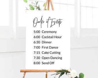 modern order of events wedding sign editable wedding signage reception sign printable personalized wedding template large events sign
