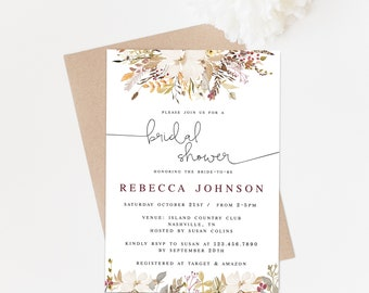 boho bridal shower invitation rustic bridal shower invitation download fall bridal shower invitation printable invites instant download