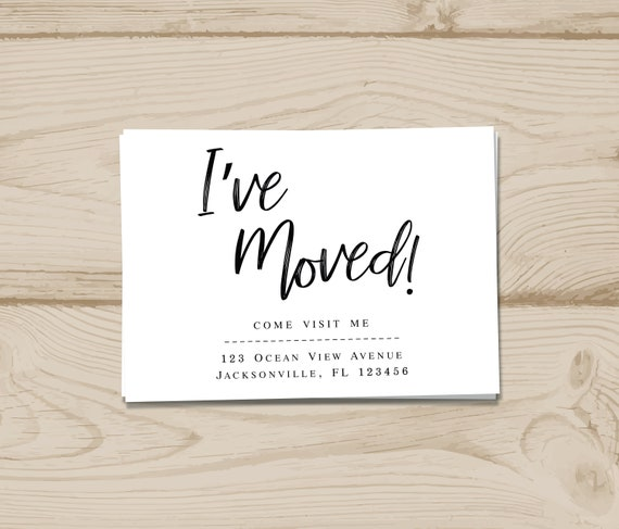 Digital I Ve Moved Postcards I Ve Moved Card I Ve Moved Announcement Moving House Moving Address Simple Moving Cards Personalized Moving