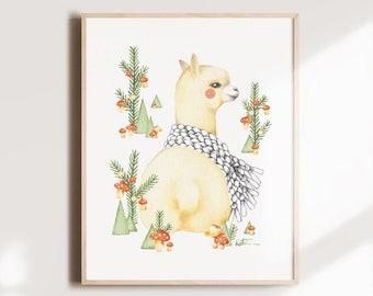 Alpaca poster 8 x 10, illustration art watercolor, drawing animal portrait, decoration child, Christmas tree mushroom, Katrinn Illustration