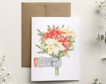 Christmas card mitten bouquet of pointsettia, watercolor illustration, holiday greeting card, stationery, made in Quebec, Katrinn Pelletier
