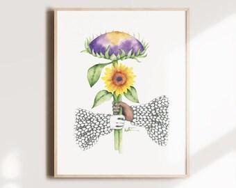 Poster sunflower flower, friendship diversity woman knitting, botanical illustration, floral watercolor art, wall decoration, Katrinn Pelletier