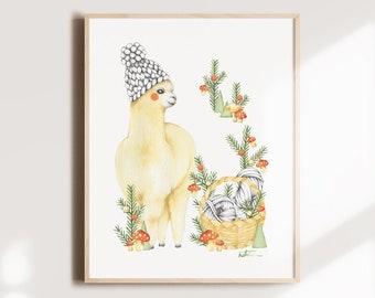 Alpaca poster tuque and wool basket 8 x 10, illustration watercolor art, child decoration, drawing fir mushroom, Katrinn Illustration