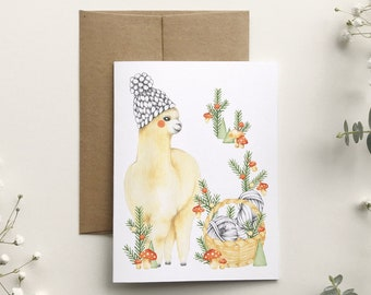 Alpaca Christmas card and its wool basket, animal portrait illustration, greeting card, stationery, made in Quebec, Katrinn Pelletier