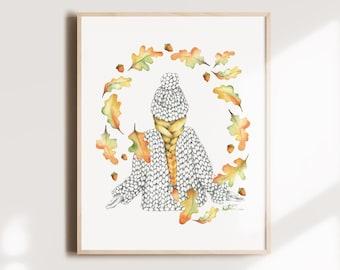 Autumn leaf knitting poster, illustration woman oak leaves, watercolor art, wool knitting, wall decoration, Katrinn Pelletier