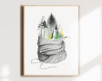 Poster 8 x 10 Illustration art Watercolor ' Winter illustration Comforting drawing Illustration by Katrinn Illustration