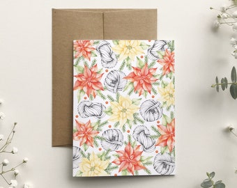 Christmas card wool and pointsettia, watercolor pattern illustration, holiday greeting card, stationery, Made in Quebec, Katrinn Pelletier