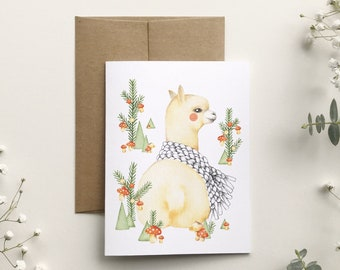 Alpaca Christmas card and scarf, animal portrait illustration, holiday greeting card, stationery, made in Quebec, Katrinn Pelletier