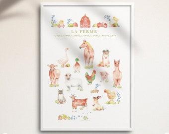 Poster farm animals, Educational illustration, cow, horse, cat, child bedroom, watercolor, made in Quebec, Katrinn Pelletier