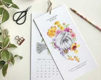 Calendar 2022, flowers and dyeing plants, illustration art watercolor, floral design, wool knitted crochet, Katrinn Pelletier