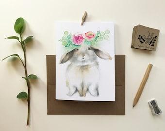 Brown rabbit ram greeting card, Easter bunny greeting card, textless card, watercolor animal portrait, birth, Katrinn Pelletier