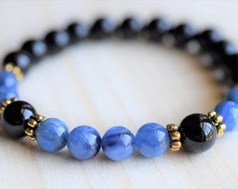Kyanite black tourmaline bracelet ,AAA grade,genuine natural gemstone,bead Bracelet,semi precious gemstone, gold gemstone bracelet