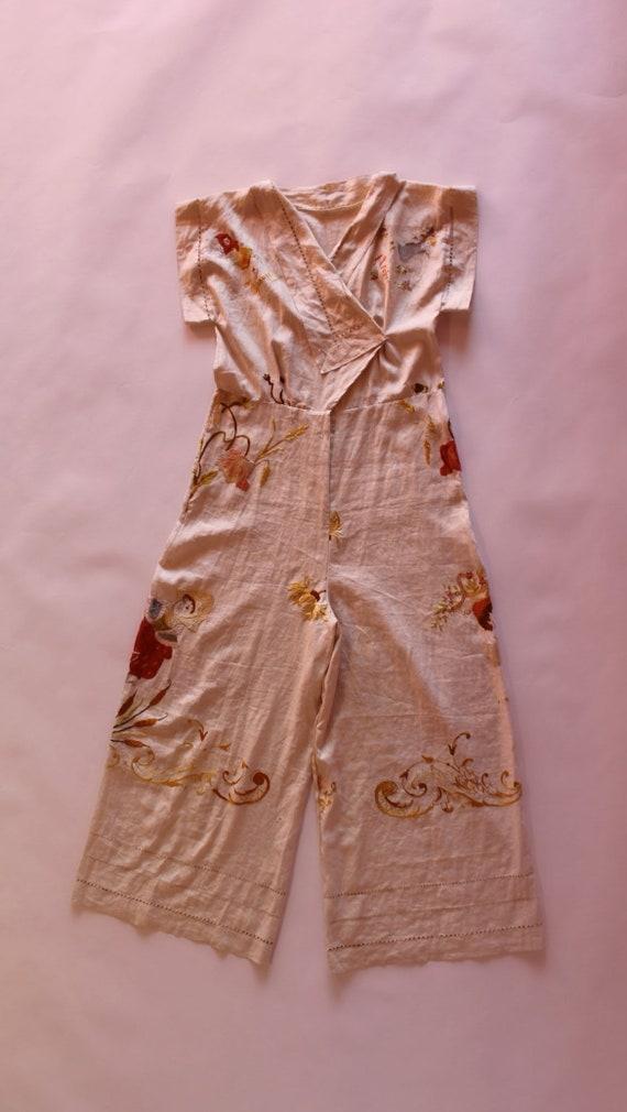 RARE 1930s beach pyjamas || 30s embroidered Germa… - image 4